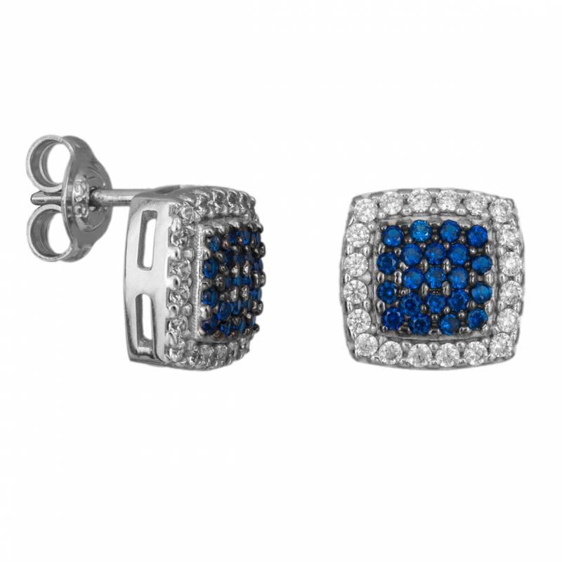 Σκουλαρίκια ροζέτες τετράγωνες Κ9 με λευκές και μπλε ζιργκόν 033361 033361 Χρυσός 9 Καράτια