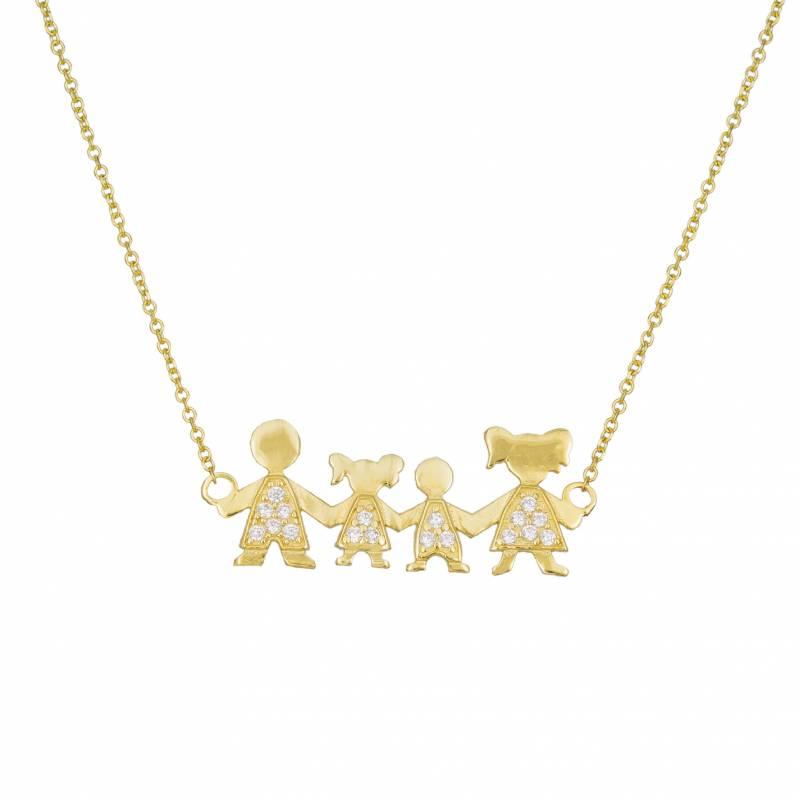 Κολιέ 14Κ τετραμελής οικογένεια αγόρι κορίτσι 033396 033396 Χρυσός 14 Καράτια