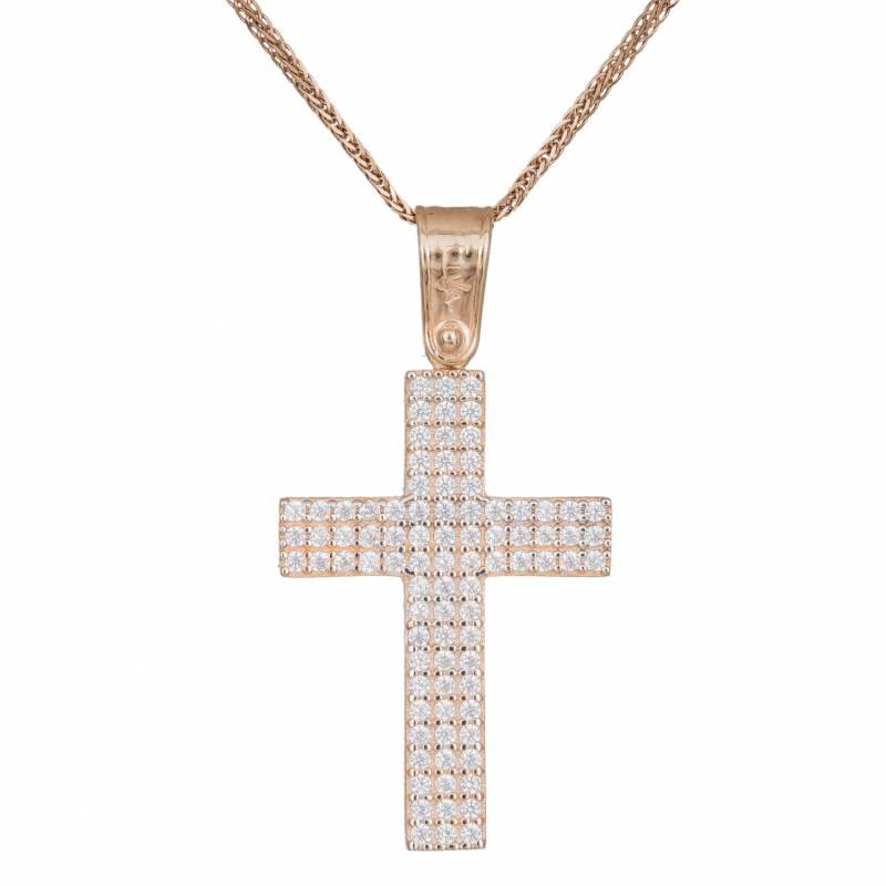 Βαπτιστικοί Σταυροί με Αλυσίδα Oλόπετρος σταυρός 14Κ με αλυσίδα 033433C 033433C Γυναικείο Χρυσός 14 Καράτια