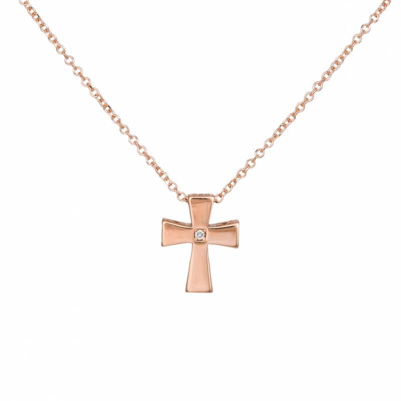 Κολιέ διπλής όψης με σταυρουδάκι ροζ gold 14Κ 033465 033465 Χρυσός 14 Καράτια
