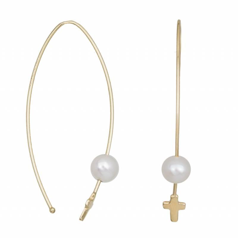 Κρεμαστά σκουλαρίκια Κ14 με σταυρουδάκι 033532 033532 Χρυσός 14 Καράτια