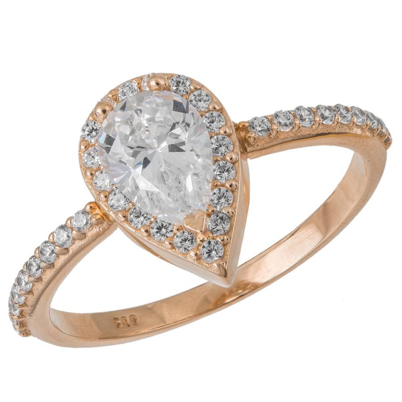 Χειροποίητη ροζέτα σε ροζ χρυσό 14Κ με ζιργκόν 033560 033560 Χρυσός 14 Καράτια