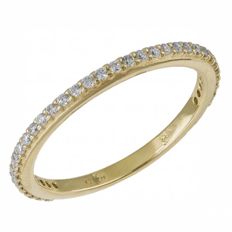 Γυναικείο ολόβερο δαχτυλίδι Κ14 με ζιργκόν 033565 033565 Χρυσός 14 Καράτια