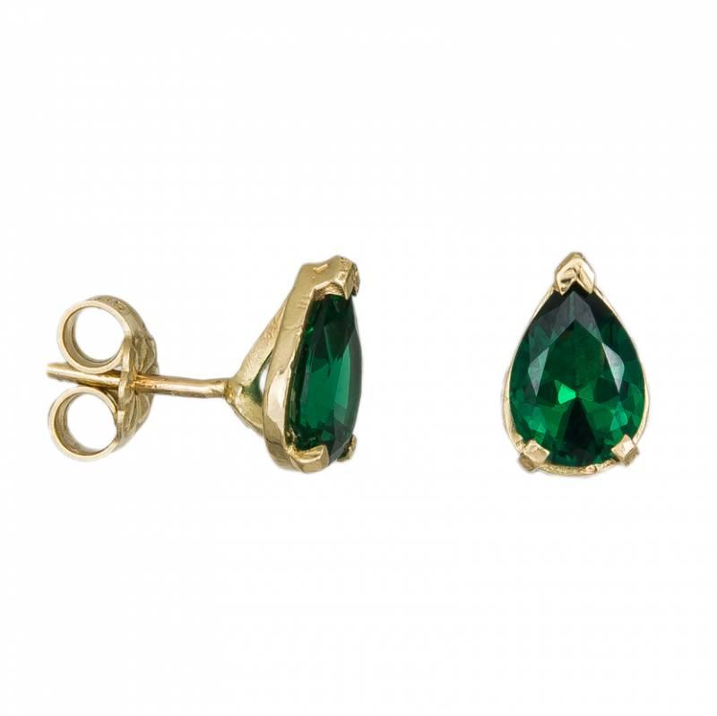Γυναικεία σκουλαρίκια δάκρυ Κ14 με πράσινες πέτρες ζιργκόν 033577 033577 Χρυσός 14 Καράτια