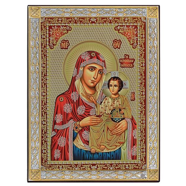 Εικόνα Παναγία Ιεροσολυμίτισσα έγχρωμη 925 033592 033592 Ασήμι