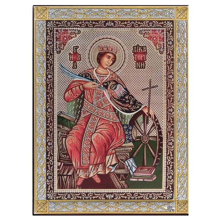 Έγχρωμη ασημένια εικόνα Αγία Αικατερίνη 925 033593 033593 Ασήμι