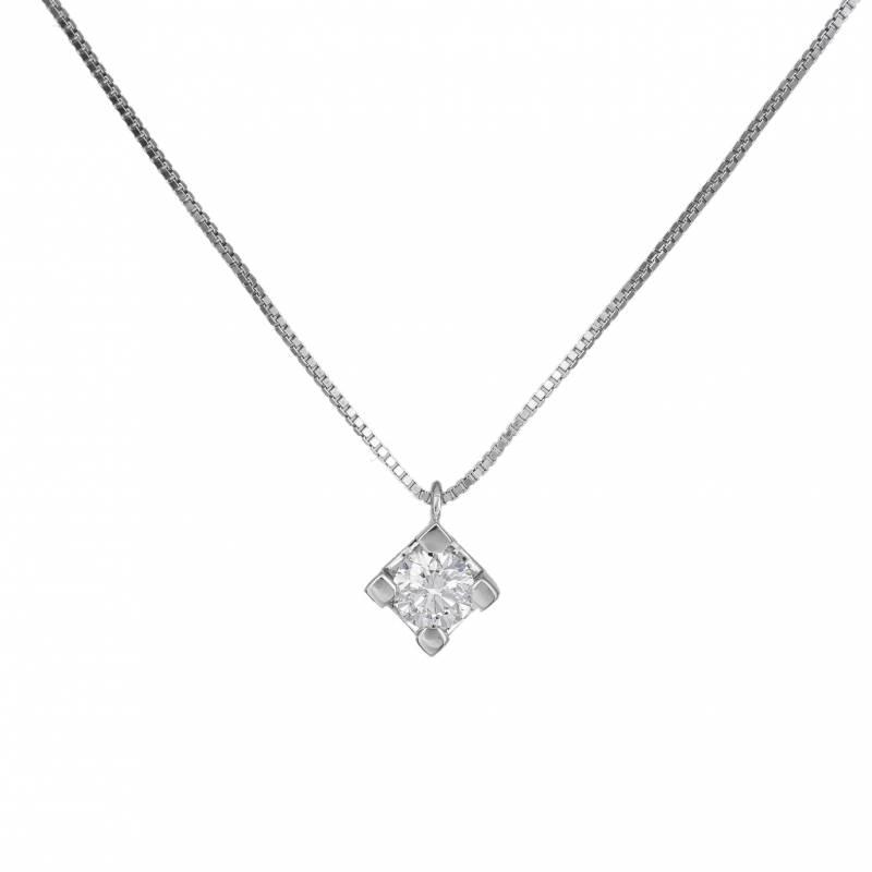 Λευκόχρυσο κολιέ με διαμάντι μπριγιάν Κ18 033647 033647 Χρυσός 18 Καράτια