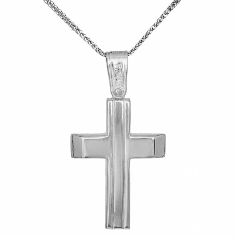 Βαπτιστικοί Σταυροί με Αλυσίδα Ανδρικός σταυρός λευκόχρυσος Κ9 με αλυσίδα 033697C 033697C Ανδρικό Χρυσός 9 Καράτια