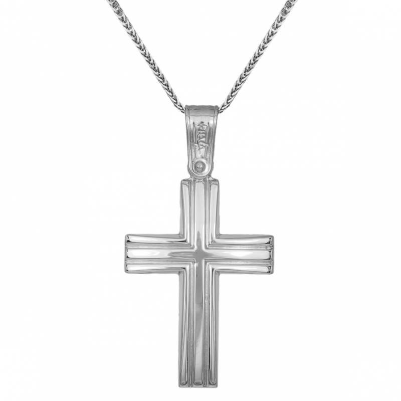 Βαπτιστικοί Σταυροί με Αλυσίδα Ανδρικός σταυρός λευκόχρυσος Κ9 με αλυσίδα για βάπτιση 033705C 033705C Ανδρικό Χρυσός 9 Καράτια