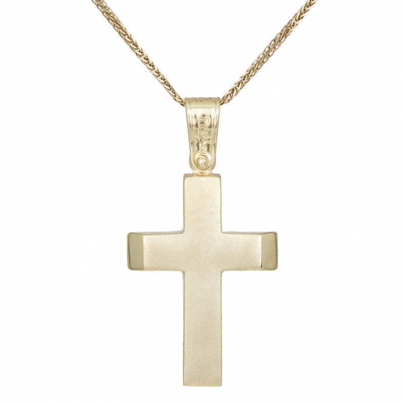 Βαπτιστικοί Σταυροί με Αλυσίδα Ανδρικός σταυρός ματ Κ9 με αλυσίδα 033713C 033713C Ανδρικό Χρυσός 9 Καράτια