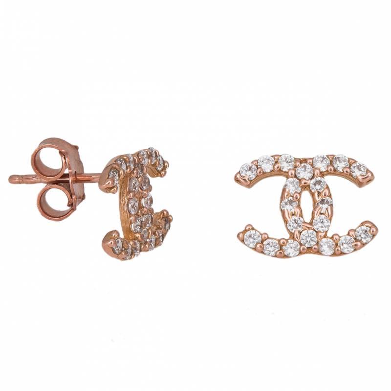 Γυναικεία σκουλαρίκια ροζ χρυσό K14 με ζιργκόν 033722 033722 Χρυσός 14 Καράτια
