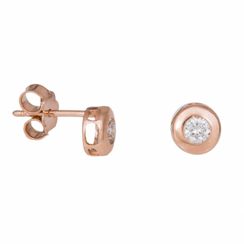 Σκουλαρίκια 14Κ καστονάκια σε ροζ gold 033747 033747 Χρυσός 14 Καράτια