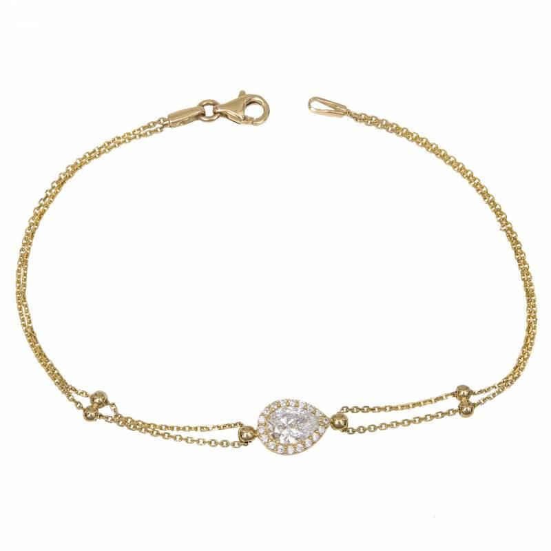 Χρυσό γυναικείο βραχιόλι Κ14 με ροζέτα πουάρ 033767 033767 Χρυσός 14 Καράτια