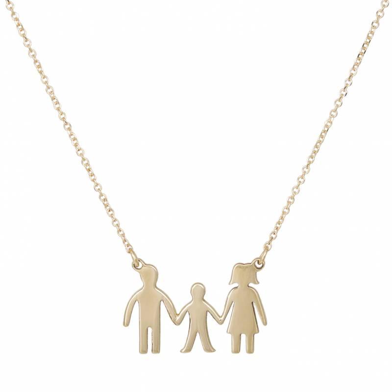 Γυναικείο κολιέ 9Κ με τριμελή οικογένεια 033820 033820 Χρυσό...
