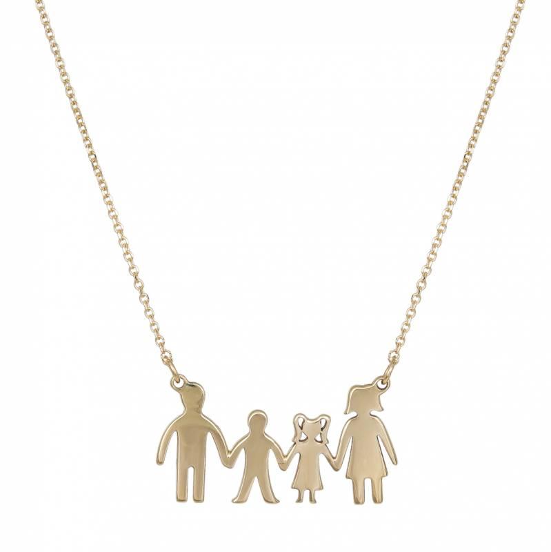 Χρυσό κολιέ 9Κ με τετραμελή λουστρέ οικογένεια 033821 033821 Χρυσός 9 Καράτια