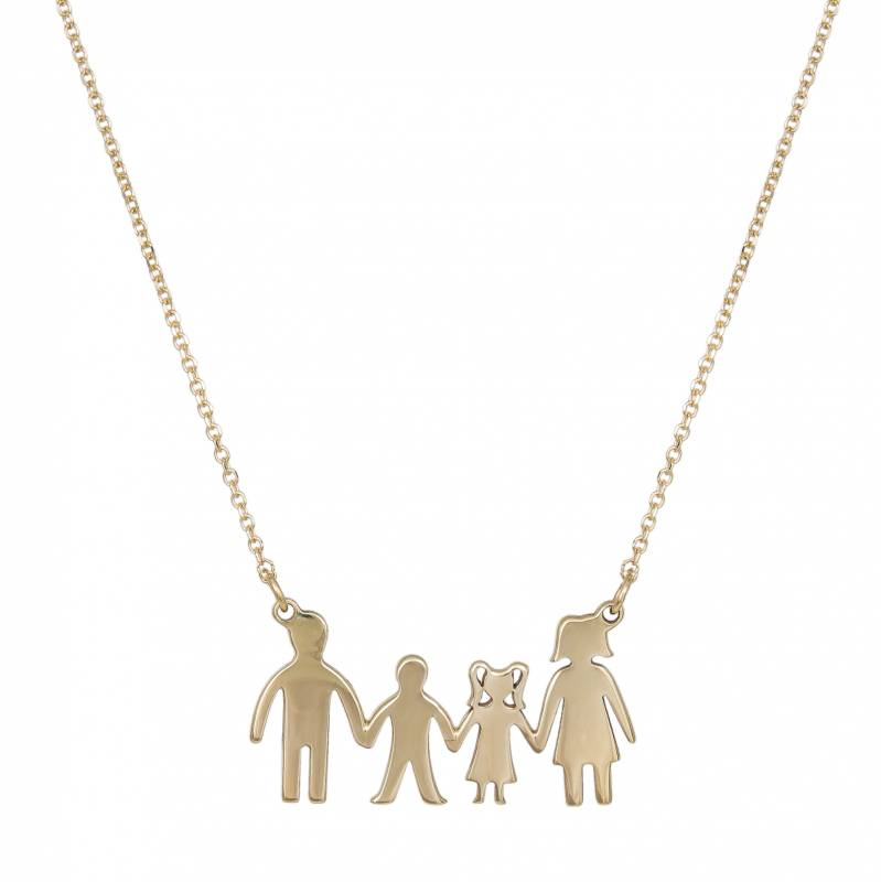 Χρυσό κολιέ 9Κ με τετραμελή λουστρέ οικογένεια 033821 033821...