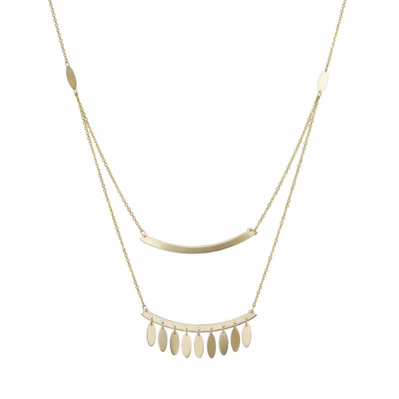 Γυναικείο κολιέ 14Κ με διπλή αλυσίδα και οβάλ μοτίφ 033857 033857 Χρυσός 14 Καράτια