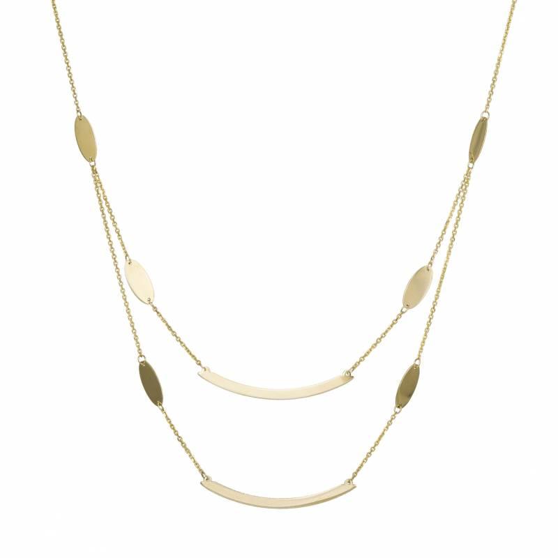 Γυναικείο κολιέ 14Κ με διπλή αλυσίδα και πλακέ μοτίφ 033862 033862 Χρυσός 14 Καράτια