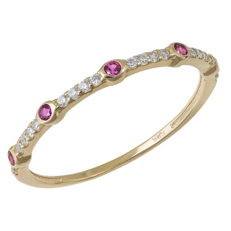 Χρυσό δαχτυλίδι σειρέ Κ14 με ροζ και λευκά ζιργκόν 033890 033890 Χρυσός 14 Καράτια