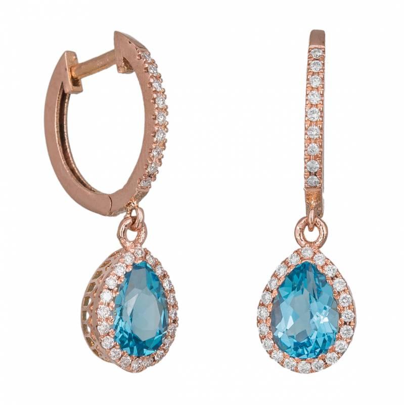 Σκουλαρίκια ροζ gold Κ18 με μπριγιάν και topaz 033901 033901 Χρυσός 18 Καράτια
