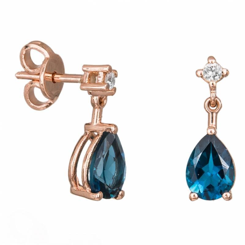 Γυναικεία σκουλαρίκια Κ18 ροζ gold με topaz 033902 033902 Χρυσός 18 Καράτια