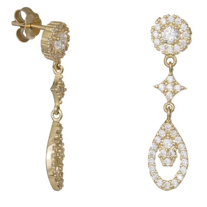 Κρεμαστά σκουλαρίκια 14Κ ροζέτες με ζιργκόν 033908 033908 Χρυσός 14 Καράτια