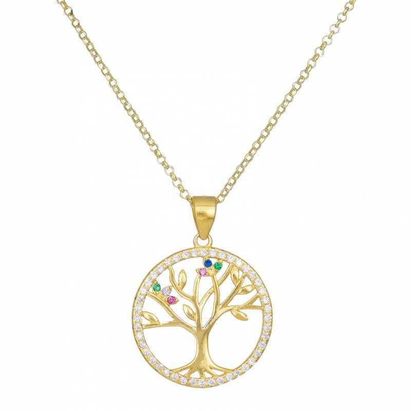 Γυναικείο κολιέ δέντρο της ζωής από επίχρυσο ασήμι 925 033941 033941 Ασήμι