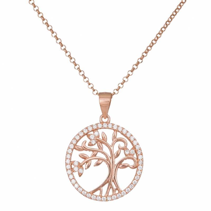 Επίχρυσο κολιέ 925 με στρογγυλό μοτίφ δέντρο της ζωής 033943 033943 Ασήμι