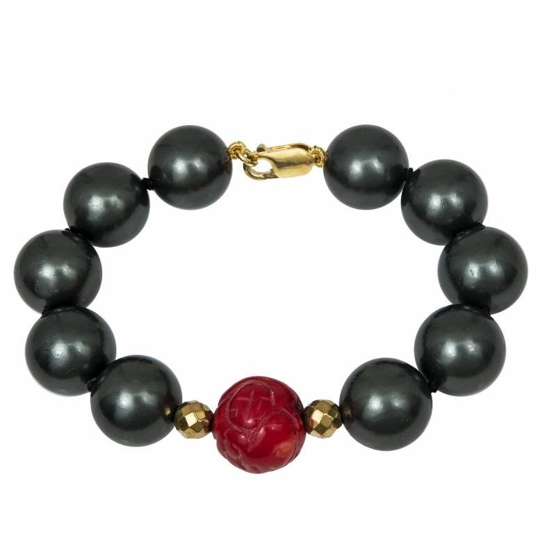 Bραχιόλι 925 με μαύρα μαργαριτάρια και baboo coral 033949 033949 Ασήμι