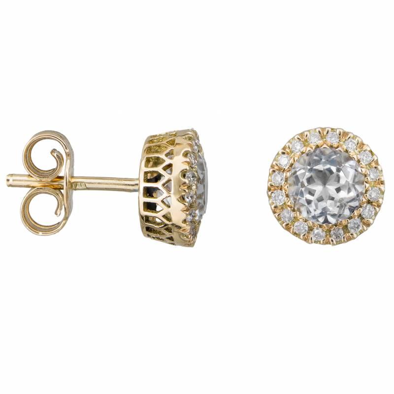 Χρυσά σκουλαρίκια Κ18 με Topaz και μπριγιάν 033950 033950 Χρυσός 18 Καράτια