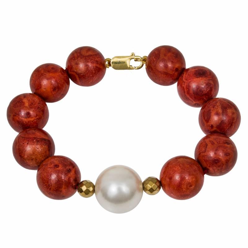 Βραχιόλι γυναικείο 925 με baboo coral και μαργαριτάρι 033953 033953 Ασήμι