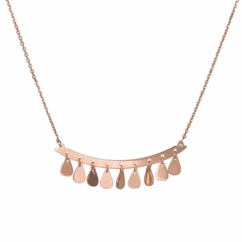 Γυναικείο κολιέ ροζ gold K14 Drops 033975 033975 Χρυσός 14 Καράτια