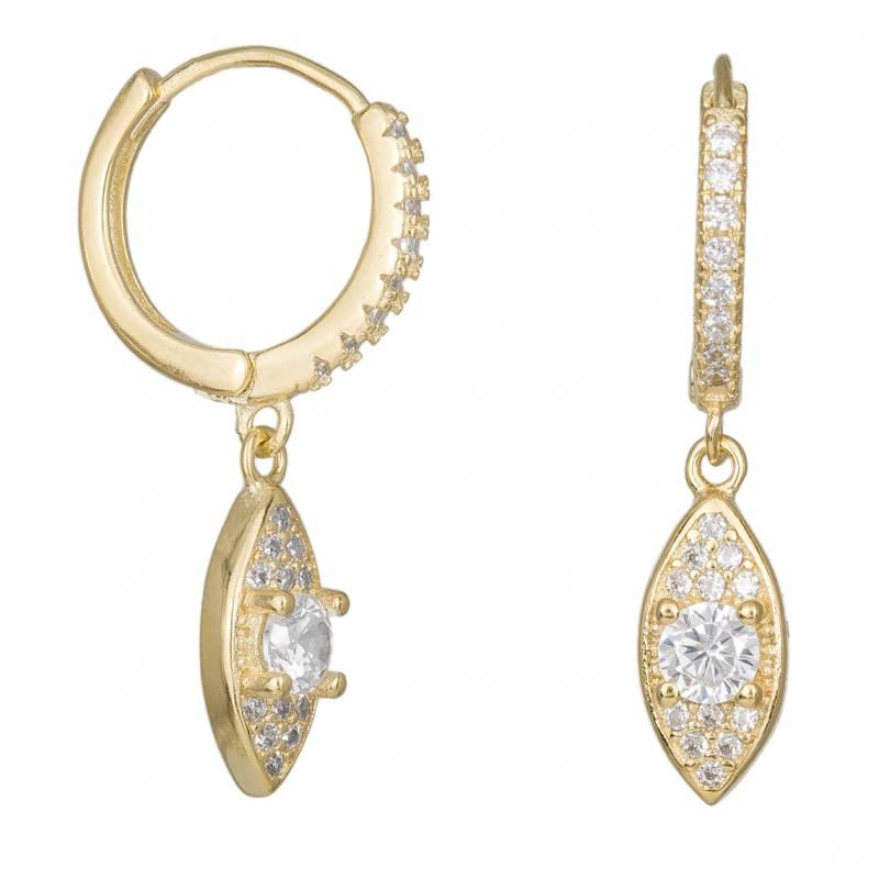 Επίχρυσα 925 σκουλαρίκια με κρεμαστή ροζέτα 034024 034024 Ασήμι