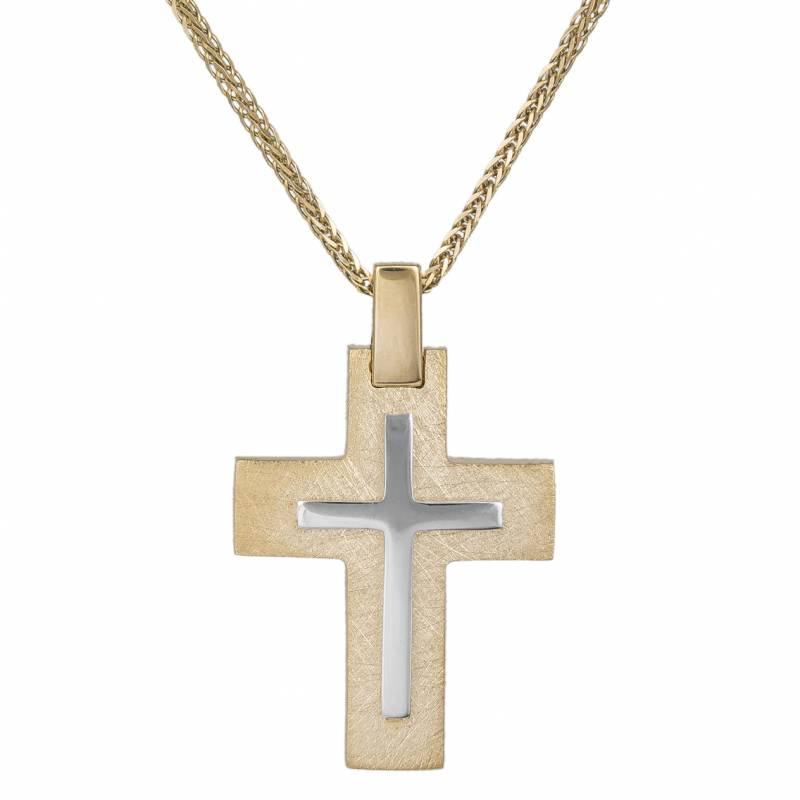 Βαπτιστικοί Σταυροί με Αλυσίδα Ανδρικός δίχρωμος σταυρός Κ14 με αλυσίδα 034055C 034055C Ανδρικό Χρυσός 14 Καράτια