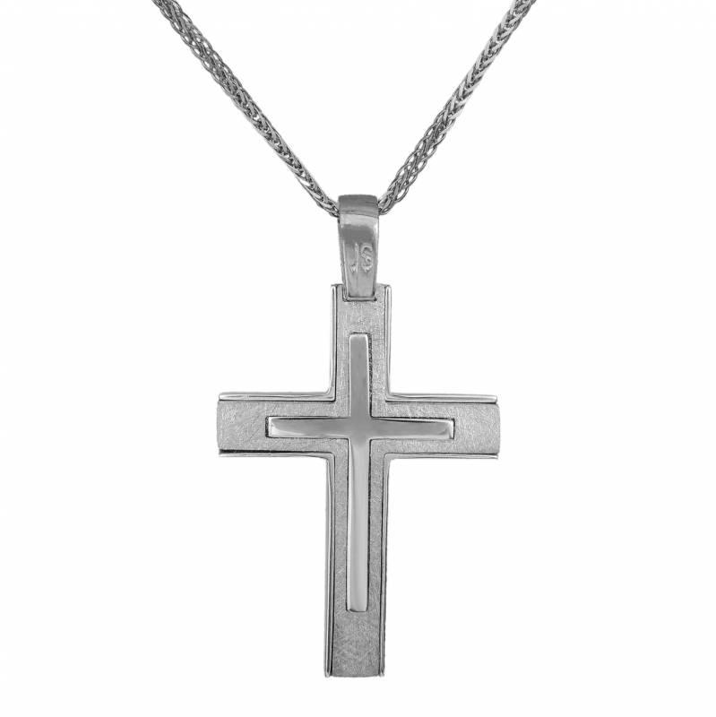 Βαπτιστικοί Σταυροί με Αλυσίδα Λευκόχρυσος Κ14 σταυρός αρραβώνα σετ με αλυσίδα 034059C 034059C Ανδρικό Χρυσός 14 Καράτια