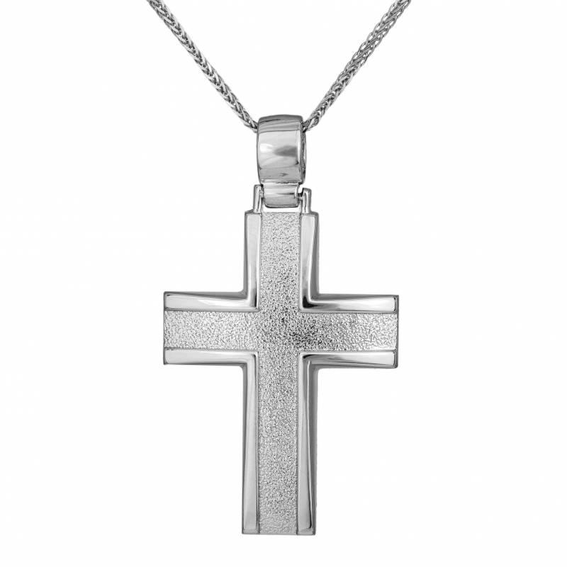 Βαπτιστικοί Σταυροί με Αλυσίδα Ανδρικός λευκόχρυσος σταυρός αρραβώνα Κ14 με αλυσίδα 034131C 034131C Ανδρικό Χρυσός 14 Καράτια