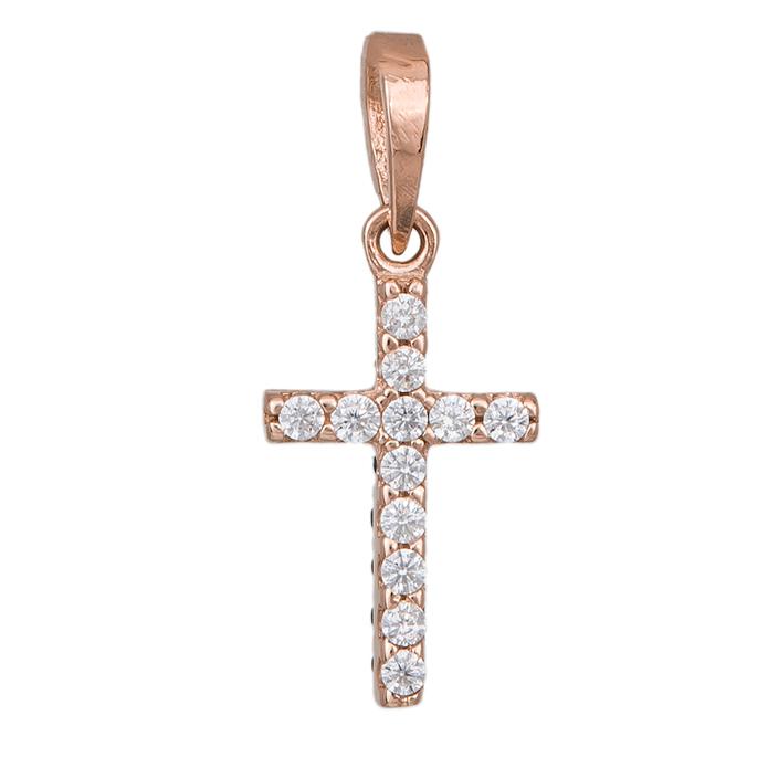 Σταυρουδάκι διπλής όψης σε ροζ gold K14 με λευκά και μαύρα ζιργκόν 034135 034135 Χρυσός 14 Καράτια