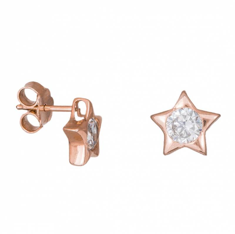 Γυναικεία σκουλαρίκια Κ14 Pink Gold Stars 034136 034136 Χρυσός 14 Καράτια
