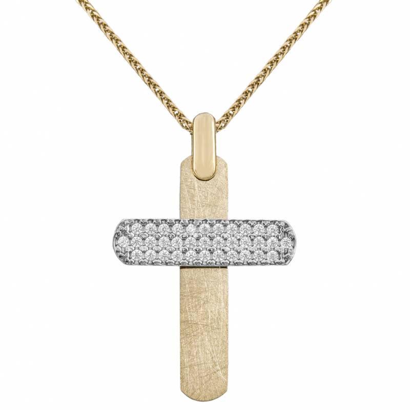 Βαπτιστικοί Σταυροί με Αλυσίδα Βαπτιστικός σταυρός για κορίτσι 14Κ σε διχρωμία με αλυσίδα 034148C 034148C Γυναικείο Χρυσός 14 Καράτια