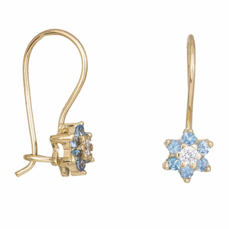 Γυναικεία χρυσά σκουλαρίκια Κ14 Aqua star 034206 034206 Χρυσός 14 Καράτια