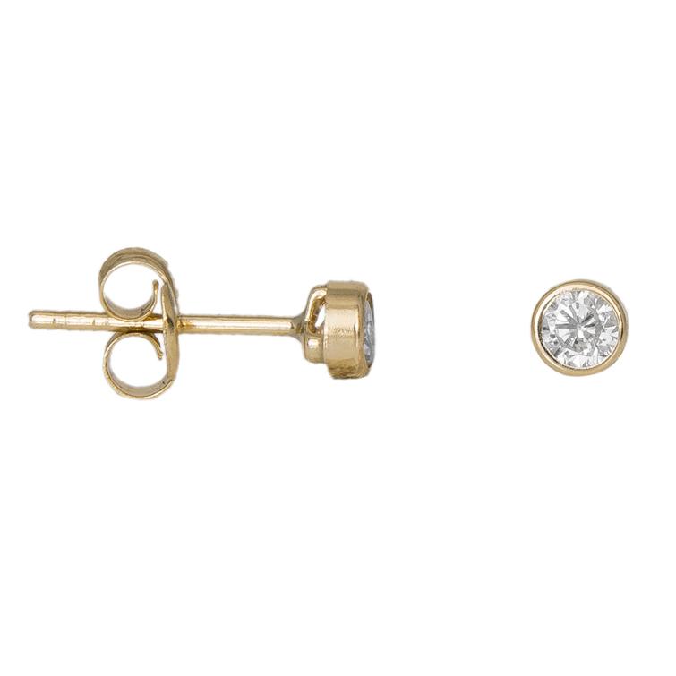 Γυναικεία χρυσά σκουλαρίκια Κ9 με ζιργκόν σε καστόνι 034404 034404 Χρυσός 9 Καράτια