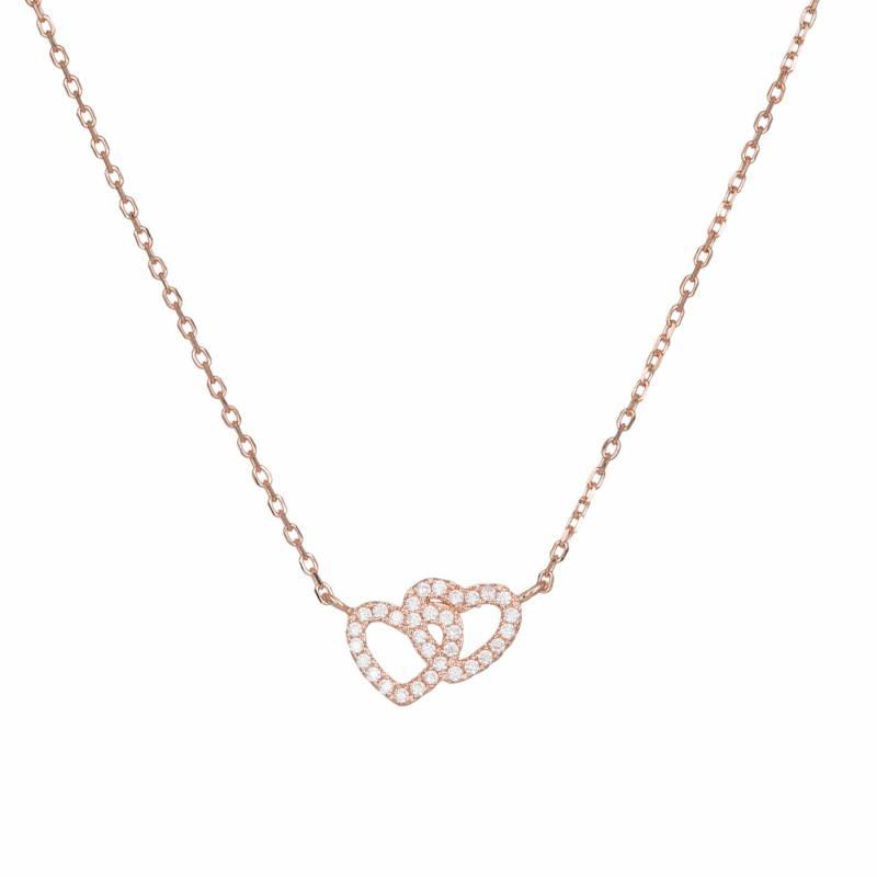 Ροζ επίχρυσο γυναικείο κολιέ 925 με καρδούλες 034429 034429 Ασήμι