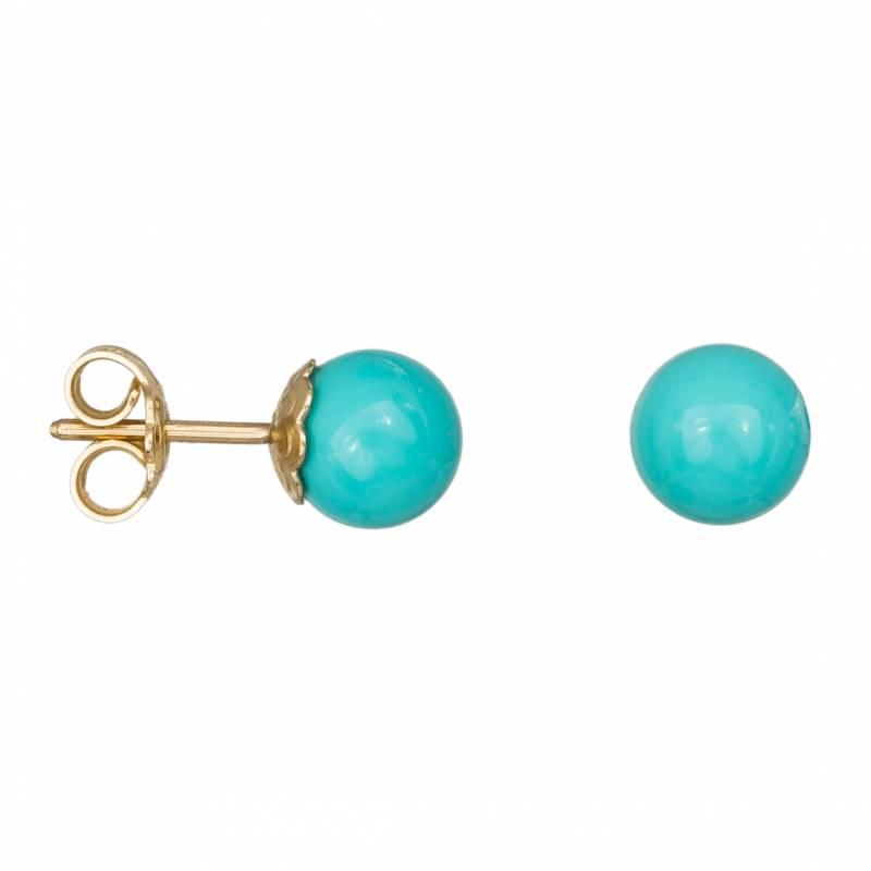 Γυναικεία χρυσά σκουλαρίκια Κ14 με τυρκουάζ μπίλιες 034536 034536 Χρυσός 14 Καράτια
