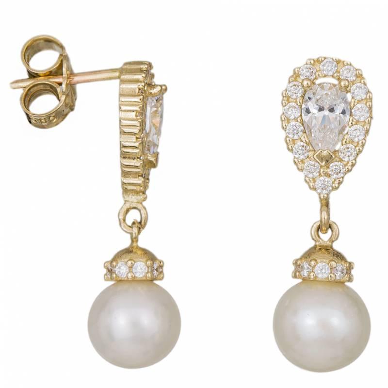 Γυναικεία χρυσά σκουλαρίκια Κ14 με ροζέτα και κρεμαστό μαργαριτάκι 034609 034609 Χρυσός 14 Καράτια