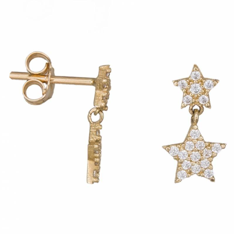 Γυναικεία χρυσά σκουλαρίκια Κ14 με κρεμαστά αστεράκια 034612 034612 Χρυσός 14 Καράτια