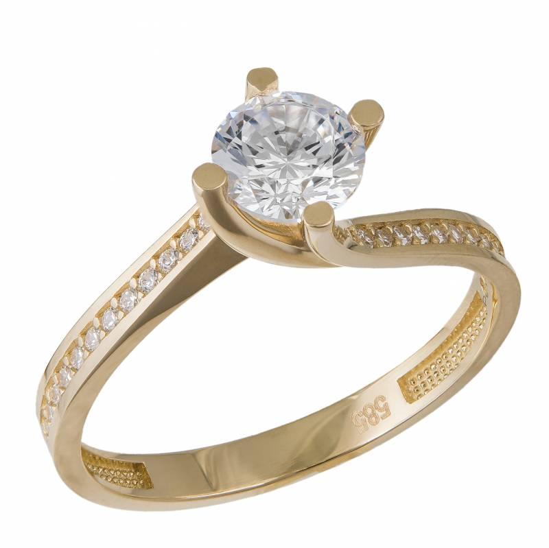 Γυναικείο χρυσό δαχτυλίδι Κ14 μονόπετρο με ζιργκόν 034617 034617 Χρυσός 14 Καράτια