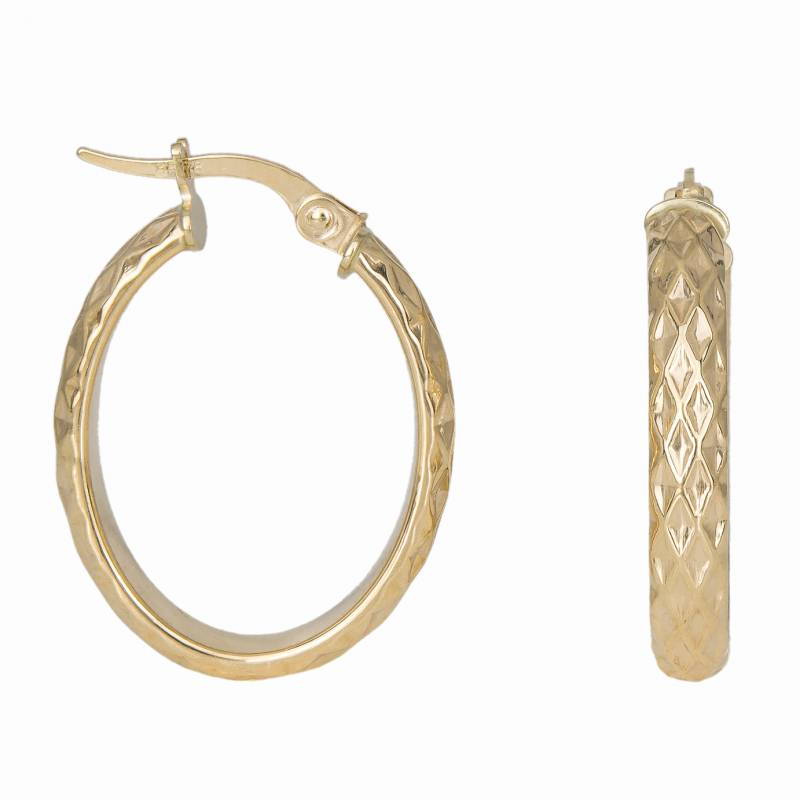 Γυναικείοι χρυσοί κρίκοι 14 καρατίων με σκαλιστούς ρόμβους 034635 034635 Χρυσός 14 Καράτια