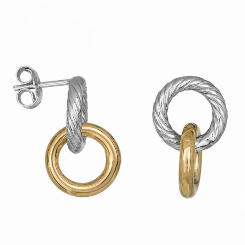 Γυναικεία δίχρωμα σκουλαρίκια Κ14 με δύο κυκλάκια 034642 034642 Χρυσός 14 Καράτια