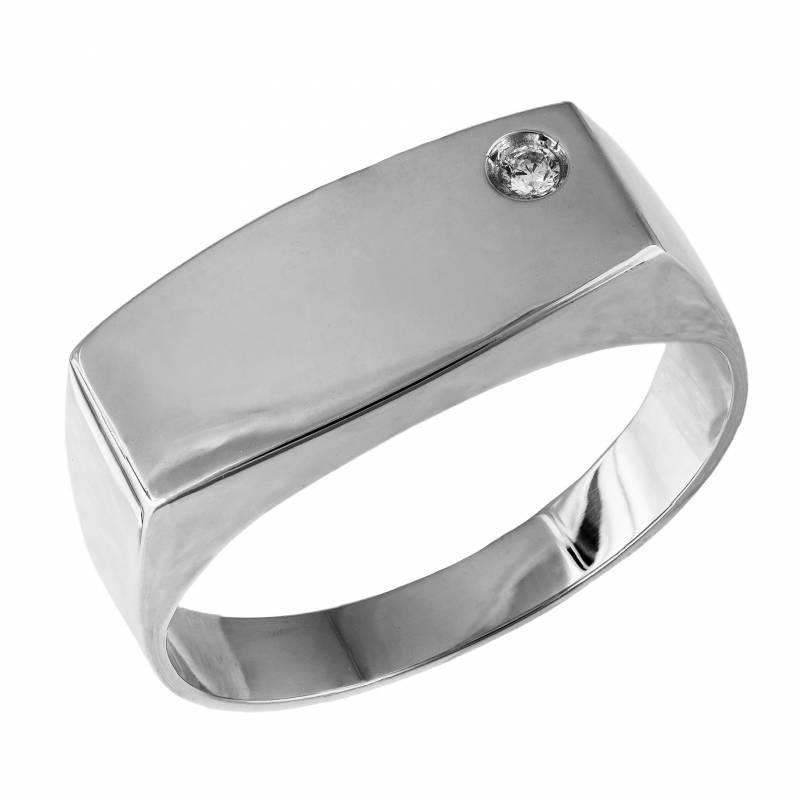Λευκόχρυσο δαχτυλίδι ανδρικό Κ14 με ζιργκόν 034668 034668 Χρυσός 14 Καράτια