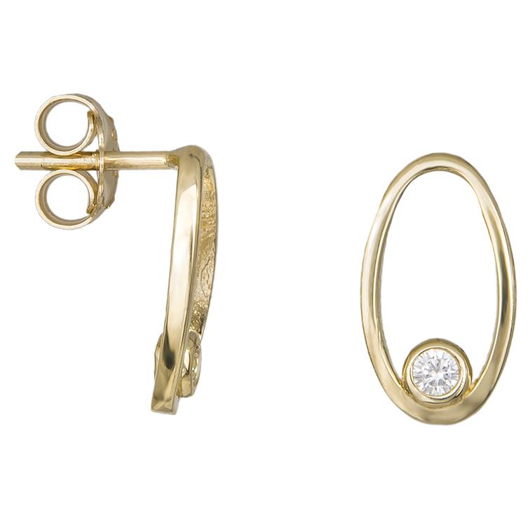 Γυναικεία οβάλ σκουλαρίκια Κ14 με ζιργκον 034670 034670 Χρυσός 14 Καράτια